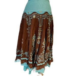 Sweet by Miss Me turquoise and brown skirt L